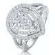 Calice Diamond Pave Pear Shape Halo Ring 1.30ct in 18K White Gold - image 1