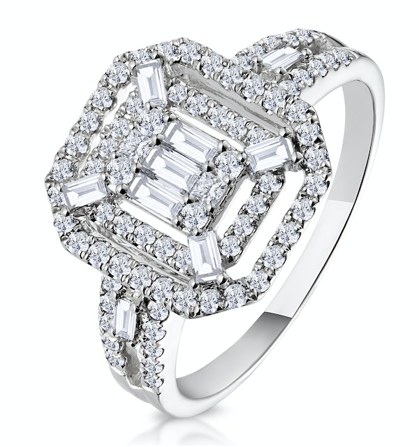 0.75ct Diamond Asteria Collection Baguette Ring in 18K White Gold - image 1