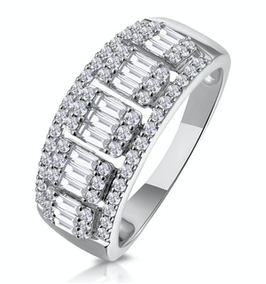 0.85ct Diamond Asteria Baguette Eternity Ring in 18K White Gold