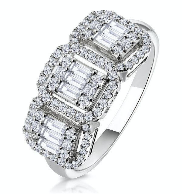 0.80ct Asteria Collection Diamond Baguette Ring in 18K White Gold - image 1