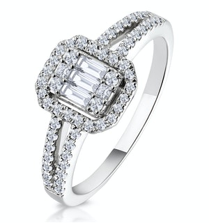 0.50ct Halo Baguette Diamond Ring Asteria Collection in 18K White Gold