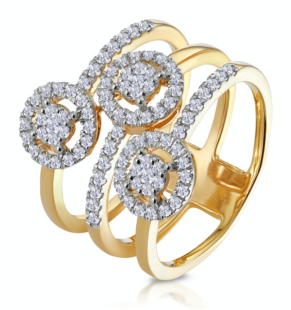 0.55ct Asteria Collection Wide Diamond Halo Ring in 18K Gold - image 1