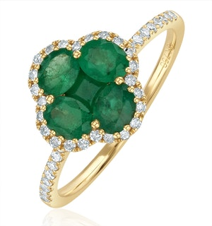 Emerald 1.06ct And Diamond 18K Yellow Gold Alegria Ring