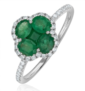 Emerald 1.06ct And Diamond 18K White Gold Alegria Ring