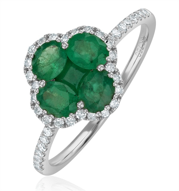 Emerald 1.06ct And Diamond 18K White Gold Alegria Ring - image 1