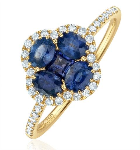Sapphire 1.31ct And Diamond 18K Yellow Gold Alegria Ring - image 1