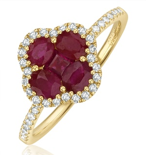 Ruby 1.15ct And Diamond 18K Yellow Gold Alegria Ring