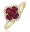 Ruby 1.15ct And Diamond 18K Yellow Gold Alegria Ring - image 1