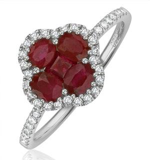 Ruby 1.15ct And Diamond 18K White Gold Alegria Ring