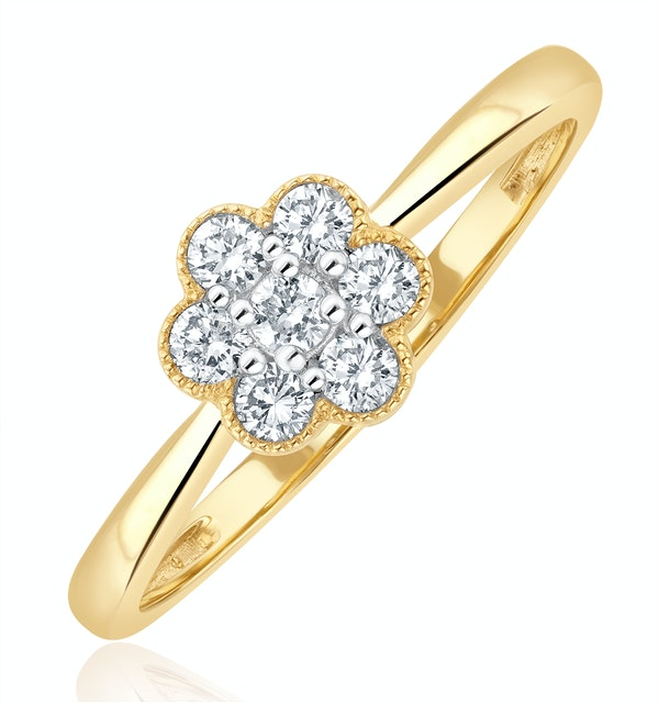 Lab Diamond Flower Ring 0.25ct H/Si in 9K Gold - image 1