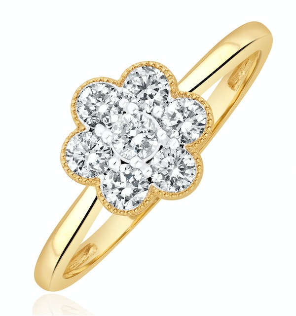 Lab Diamond Flower Ring 0.50ct H/Si in 9K Gold - image 1