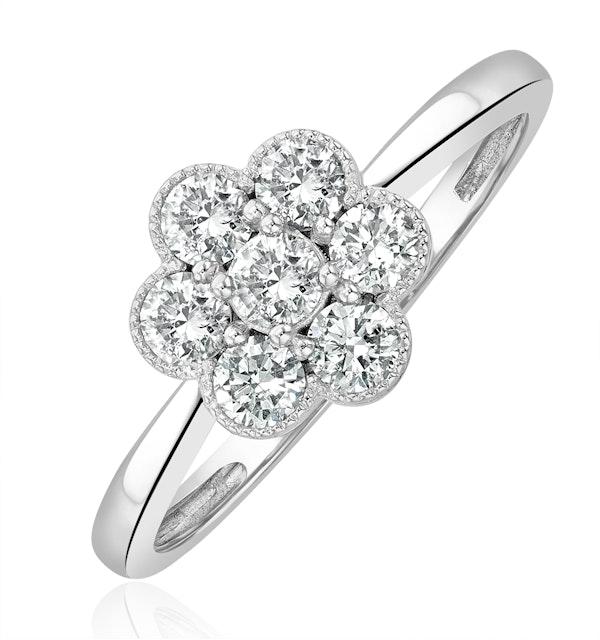 Lab Diamond Flower Ring 0.50ct H/Si in 9K White Gold - image 1