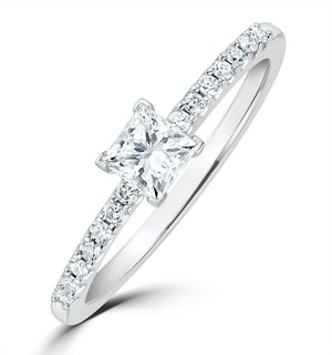 Princess Cut Lab Diamond Engagement Ring 0.25ct H/Si in 9K White Gold
