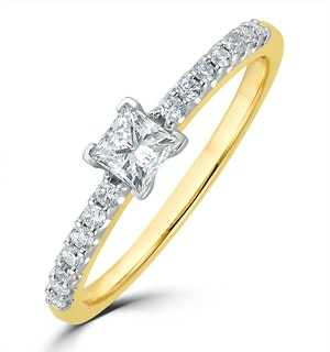 Princess Cut Lab Diamond Engagement Ring 0.50ct H/Si in 9K Gold