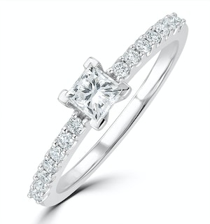 Princess Cut Lab Diamond Engagement Ring 0.50ct H/Si in 9K White Gold
