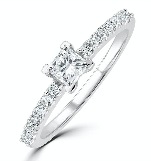Princess Cut Lab Diamond Engagement Ring 0.50ct H/Si in 9K White Gold - image 1