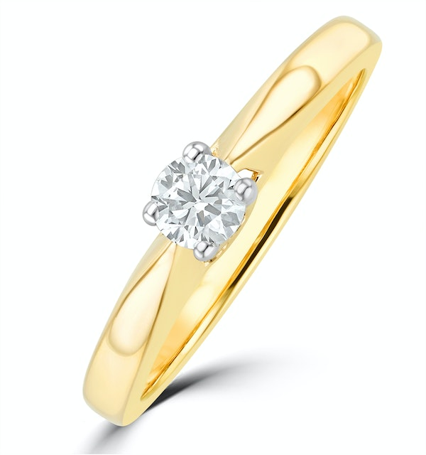 Tapered Design Lab Diamond Engagement Ring 0.15ct H/Si in 9K Gold - image 1
