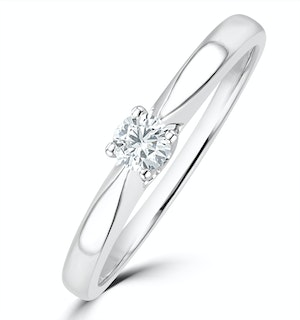 Tapered Design Lab Diamond Engagement Ring 0.15ct H/Si in 925 Silver