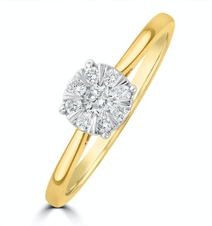 0.25ct Lab Diamond Cluster Solitaire Ring H/Si in 9K Gold