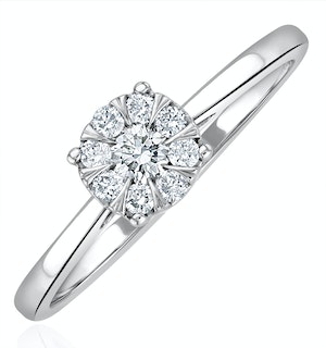 0.25ct Lab Diamond Cluster Solitaire Ring H/Si in 925 Silver