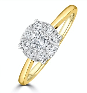 0.50ct Lab Diamond Cluster Solitaire Ring H/Si in 9K Gold
