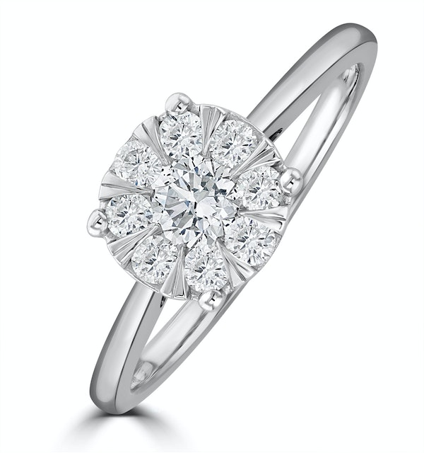 0.50ct Lab Diamond Cluster Solitaire Ring H/Si in 9K White Gold - image 1