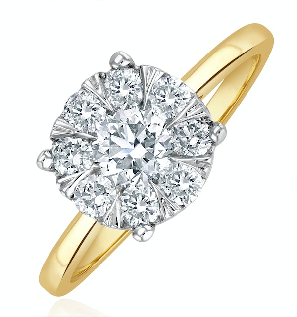 1 Carat Lab Diamond Cluster Solitaire Ring H/Si in 9K Gold - image 1