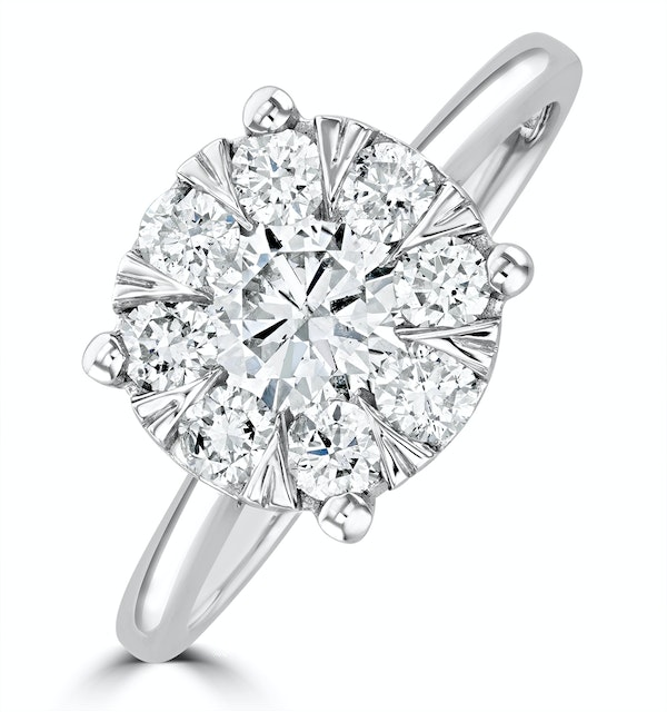 1 Carat Lab Diamond Cluster Solitaire Ring H/Si in 9K White Gold - image 1