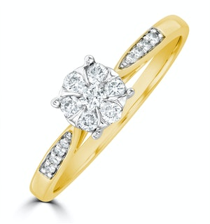 Lab Diamond Engagement Ring With Shoulders 0.25ct H/Si in 9K Gold