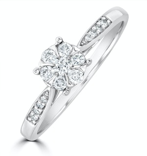 Lab Diamond Engagement Ring With Shoulders 0.25ct H/Si in 925 Silver
