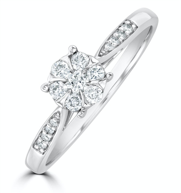 Lab Diamond Engagement Ring With Shoulders 0.25ct H/Si in 925 Silver - image 1
