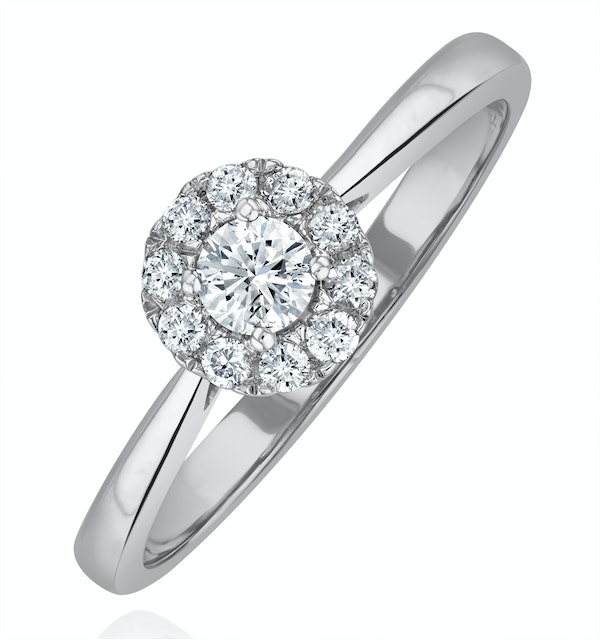 Lab Diamond Halo Engagement Ring 0.25ct H/Si in 9K White Gold - image 1