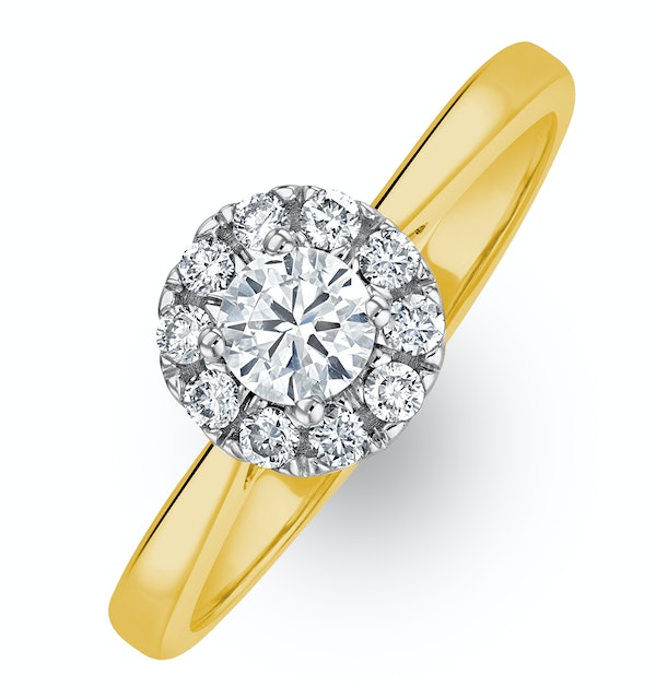 Lab Diamond Halo Engagement Ring 0.50ct H/Si in 9K Gold - image 1