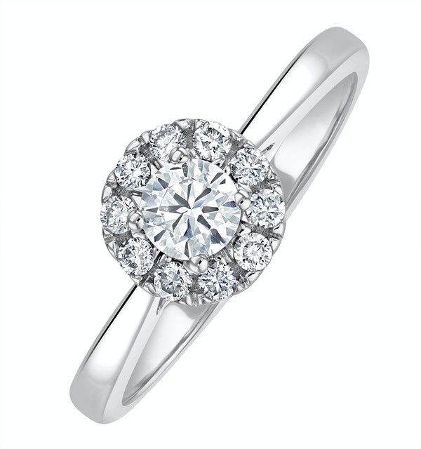 Lab Diamond Halo Engagement Ring 0.50ct H/Si in 9K White Gold - image 1