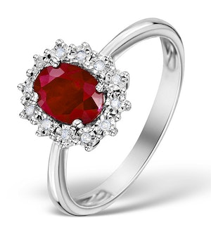 Ruby Ring With Lab Diamond Halo 7 x 5mm Set in 925 Silver