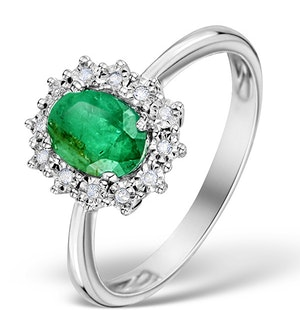 Emerald Ring With Lab Diamond Halo 7 x 5mm Set in 925 Silver