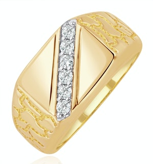 Mens Lab Diamond Signet Ring 9K Gold 0.25ct H/Si