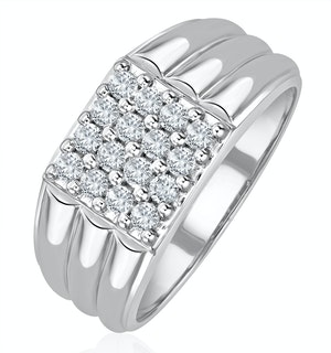 Mens 9K Gold Lab Diamond Encrusted 0.50ct H/Si Signet Ring
