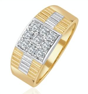Mens 9K Gold Lab Diamond Design Ring Set With 0.25ct H/Si