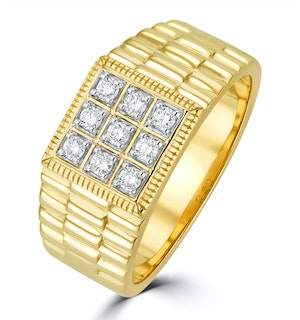 Mens Lab Diamond Design Ring 0.25ct H/Si in 9K Gold