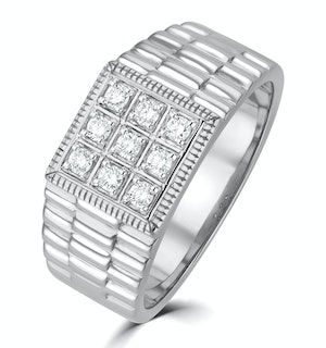 Mens Lab Diamond Design Ring 0.25ct H/Si in Sterling Silver