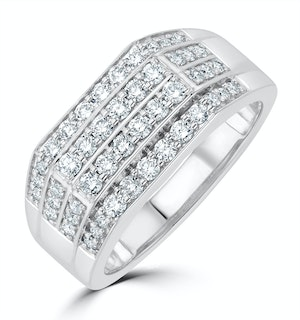 Mens Lab Diamond Pave Encrusted Ring 1ct H/Si in 9K White Gold