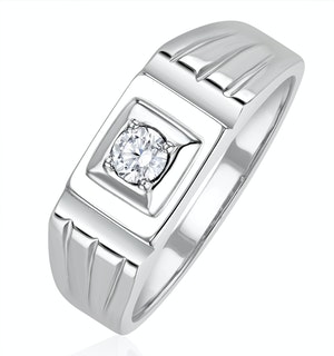 Mens 0.25ct Lab Diamond Design Ring in 925 Sterling Silver