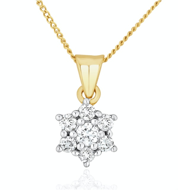 Lab Diamond Star Cluster Pendant Necklace 0.25ct H/Si in 9K Gold - image 1