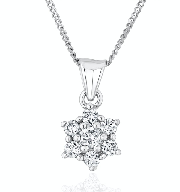 Lab Diamond Star Cluster Pendant Necklace 0.25ct H/Si 9K White Gold - image 1