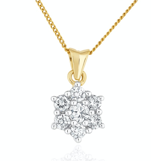 Lab Diamond Star Cluster Pendant Necklace 0.50ct H/Si in 9K Gold - image 1