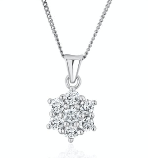 Lab Diamond Star Cluster Pendant Necklace 0.50ct H/Si 9K White Gold