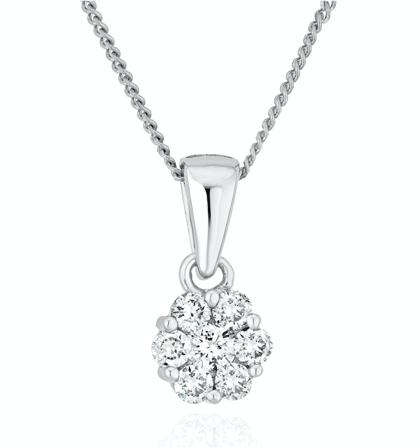 Lab Diamond Cluster Pendant Necklace 0.25ct H/Si in 9K White Gold - image 1