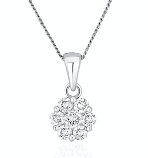 Lab Diamond Cluster Pendant Necklace 0.50ct H/Si in 9K White Gold