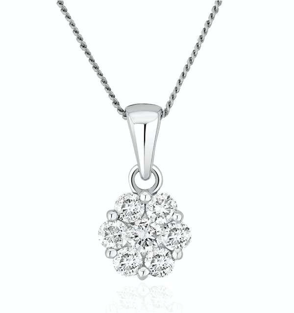 Lab Diamond Cluster Pendant Necklace 0.50ct H/Si in 9K White Gold - image 1